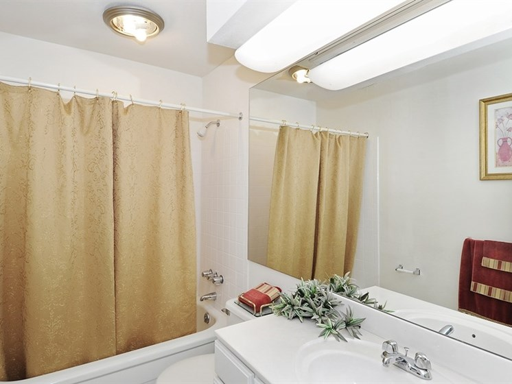 Pangea Prairies Apartments in Indianapolis feature spacious bathrooms.