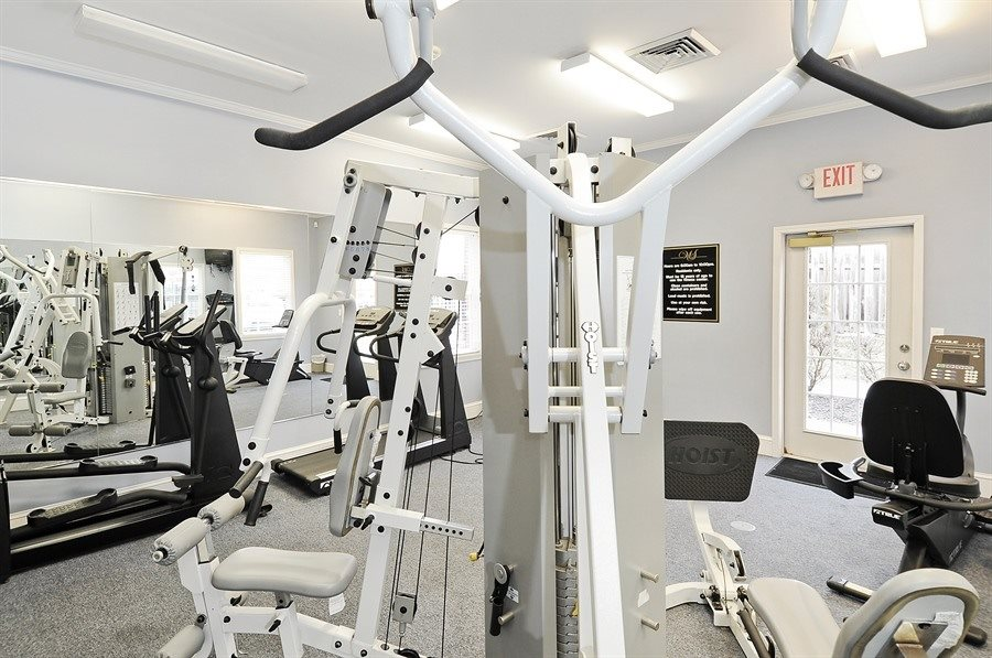 Amenities at Pangea Prairies Apartments in Indianapolis include a fitness center!