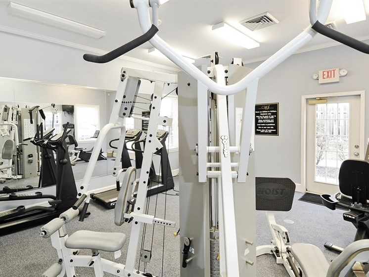 The fitness center is one of many community amenities at Pangea Prairies Apartments in Indianapolis!