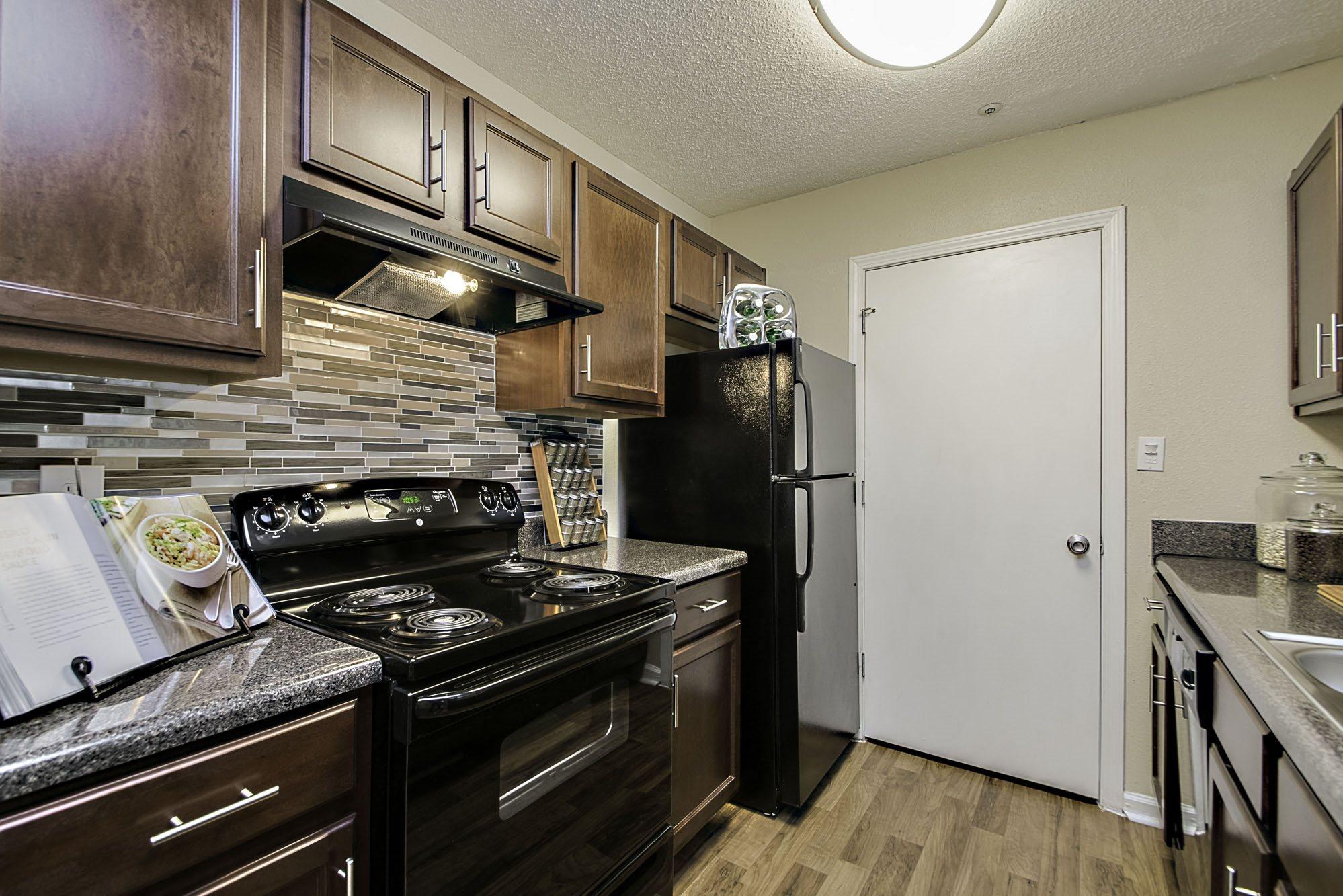 kitchen with designer backsplash