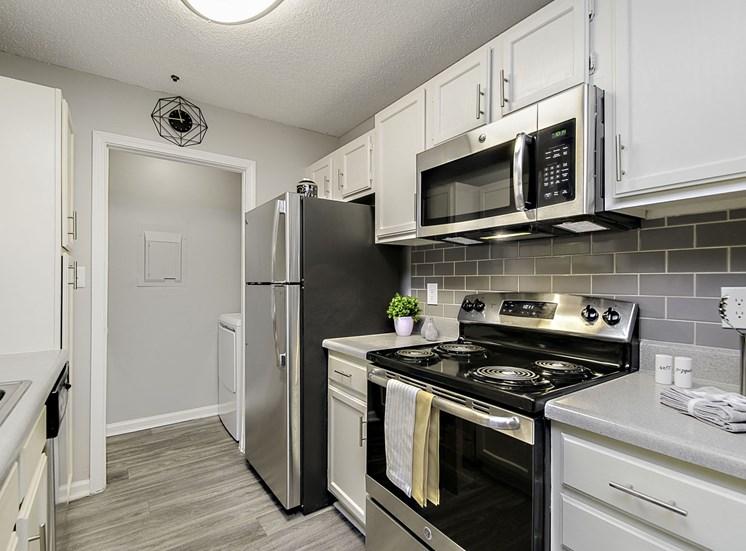 stainless steel appliances in kitchen