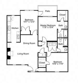 3 Bed - 2 Bath Floor Plan at Woodland Hills, 3471 North Druid Hills Road, Decatur