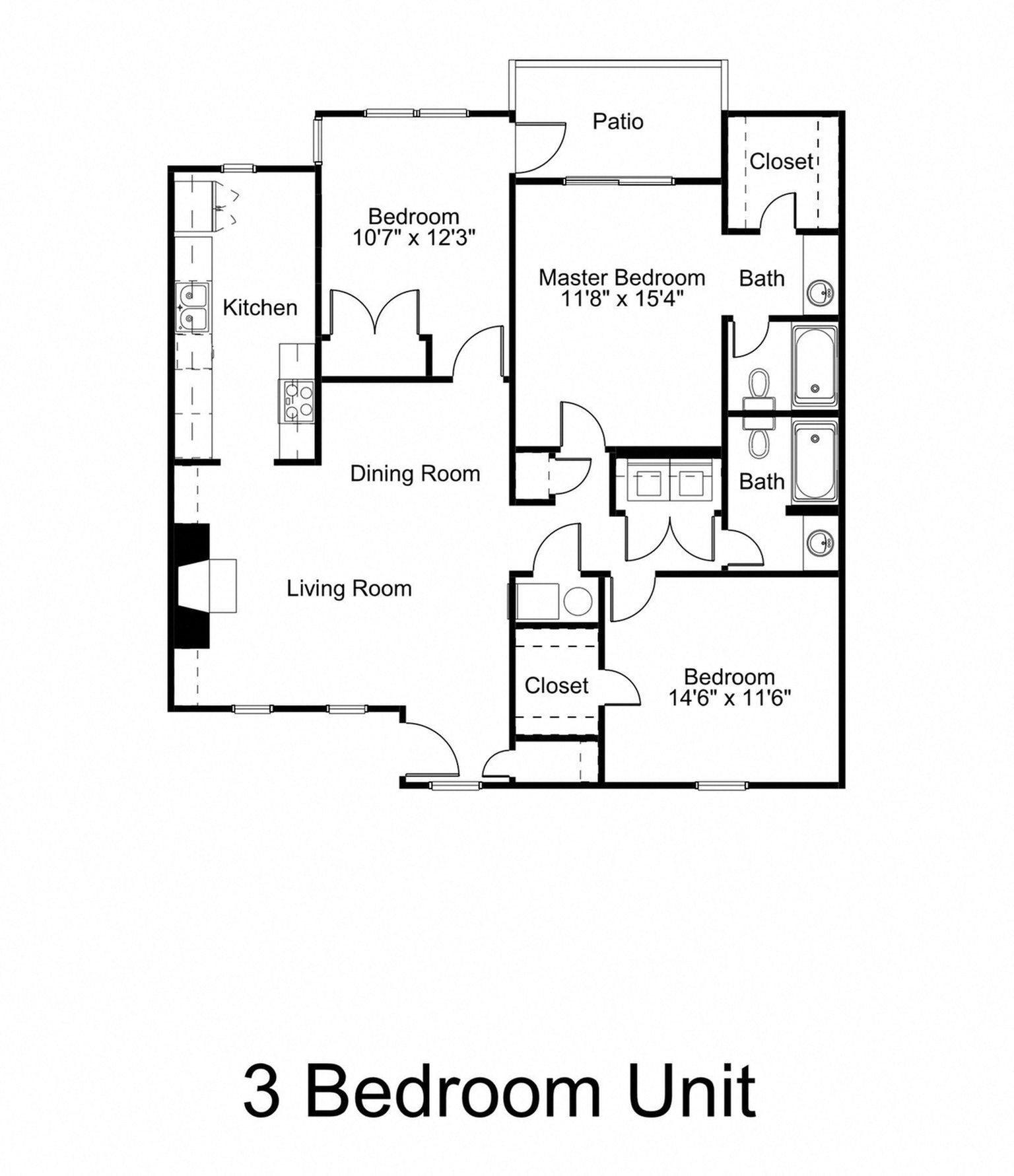 3 Bed - 2 Bath Floor Plan at Woodland Hills, 3471 North Druid Hills Road, Decatur