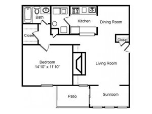 1 Bed - 1 Bath Floor Plan at Woodland Hills, 3471 North Druid Hills Road, Decatur, 30033