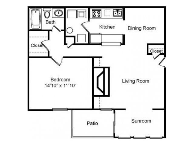 1 Bed - 1 Bath Floor Plan at Woodland Hills, 3471 North Druid Hills Road, Decatur, 30033