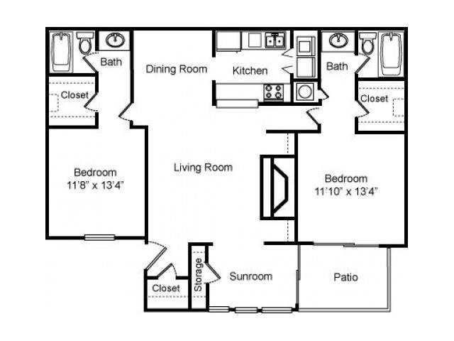 2 Bed - 2 Bath Floor Plan at Woodland Hills, 3471 North Druid Hills Road, GA 30033