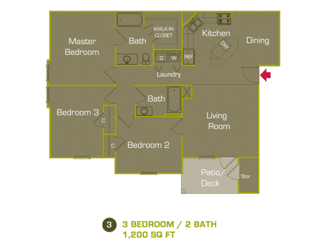 C Floor Plan at Woodland Trail, LaGrange, Georgia