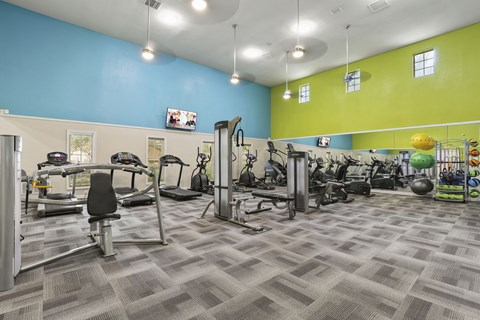 updated fitness center- cardio machines, weighted machines