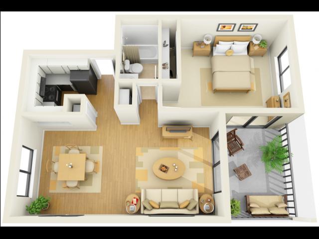 1x1A Floor Plan 1