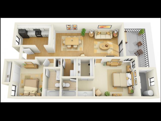 2x2B Floor Plan 4