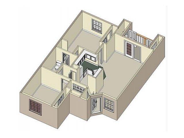 2 Bedroom/ 1 Bath Floor Plan 1