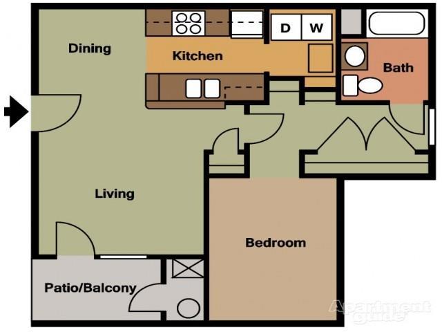 Bon 1x1_714 Floor Plan 1