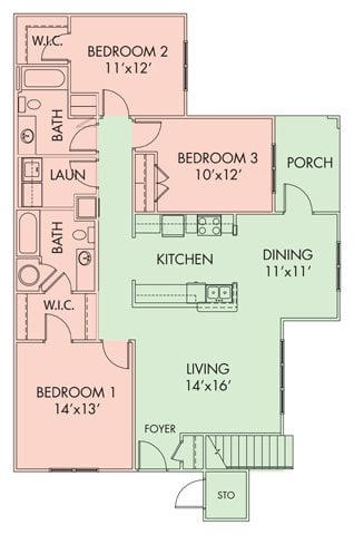 3 bed-2 bath Floor Plan 5