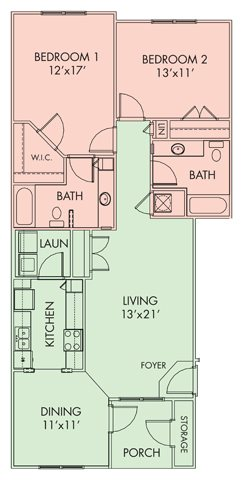 2 bed-2bath Floor Plan 3