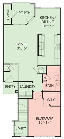 1 bed-1 bath Floor Plan 1