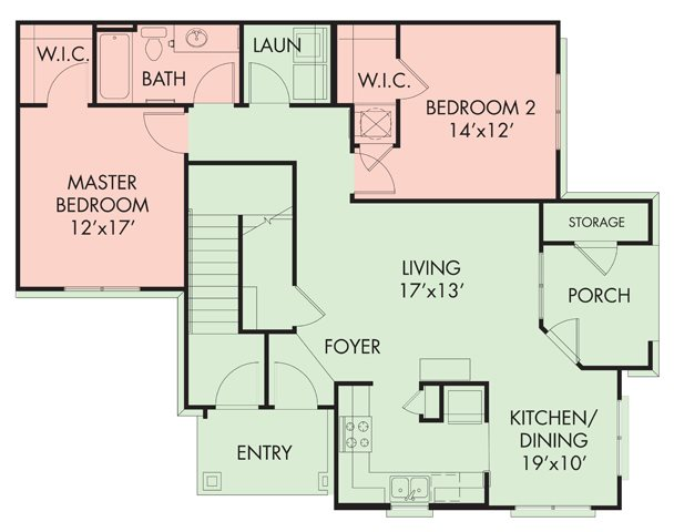 2 bed-1 bath Floor Plan 2
