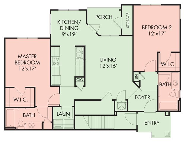 2 bed-2 bath Floor Plan 4