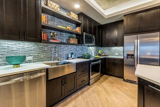 modern appliances in kitchen with black cabinetry