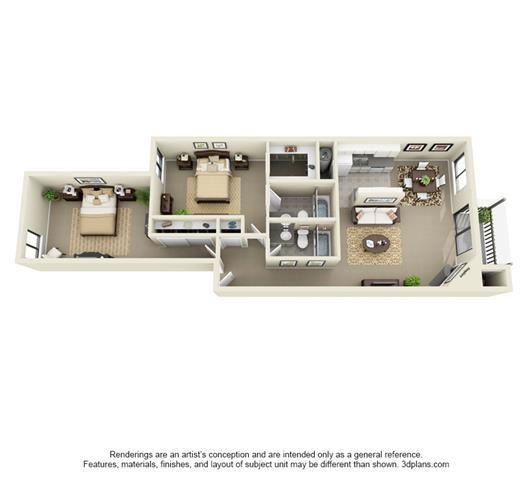 2 Bed, 2 Bath B, 1026 sq. ft.
