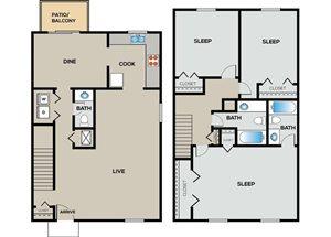 3 Bedroom | 2.5 Bathroom  Townhome