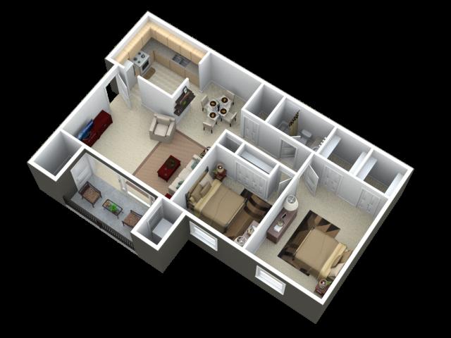 Two Bedroom One Bath Apartment Floor Plan 2