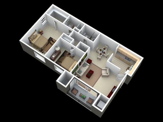 Two Bedroom Two Bathroom Apartment Floor Plan 3