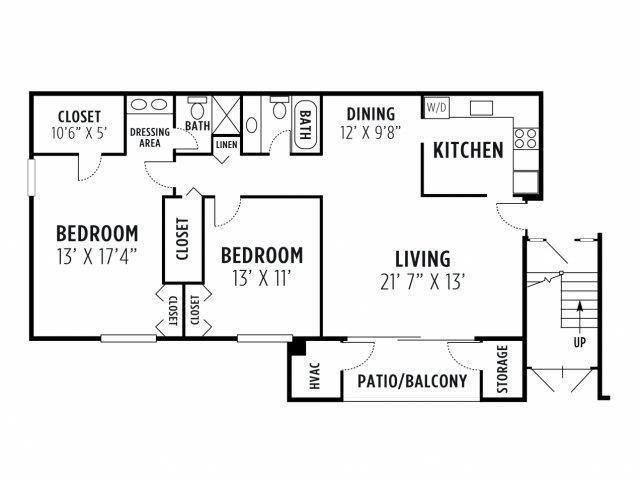 Two Bedroom Deluxe Apartment Floor Plan 4