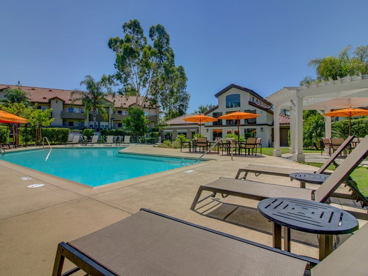 Pool deck at the Legends at Rancho Belago, 13292 Lasselle St,, 92553