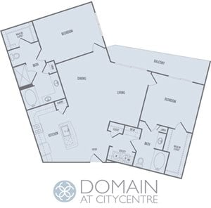 C4 Floor Plan at Domain at CityCentre Apartments in Houston, Texas 77024