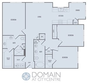 E1 Floor Plan at Domain at CityCentre Apartments in Houston, Texas 77024