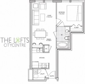 Unit A Floor Plan at The Lofts at CityCentre Apartments in Houston, TX 77024