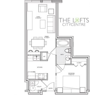 Unit A1 Floor Plan at The Lofts at CityCentre Apartments in Houston, TX 77024