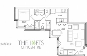 Unit A2 Floor Plan at The Lofts at CityCentre Apartments in Houston, Texas 77024