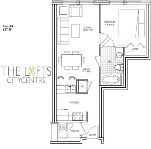 Unit A4 Floor Plan at The Lofts at CityCentre Apartments in Houston, TX 77024