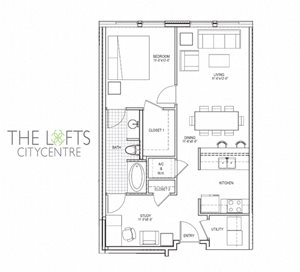 Unit B Floor Planat The Lofts at CityCentre Apartments in Houston, TX 77024
