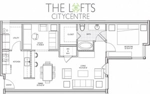 Unit B1 Floor Plan at The Lofts at CityCentre Apartments in Houston, TX 77024