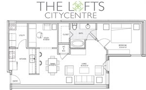 Unit B2 Floor Plan at The Lofts at CityCentre Apartments in Houston, TX 77024