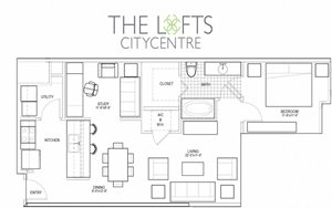 Unit B3 Floor Plan at The Lofts at CityCentre Apartments in Houston, TX 77024