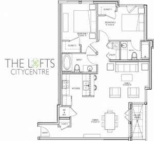 Unit C Floor Plan at The Lofts at CityCentre Apartments in Houston, TX 77024