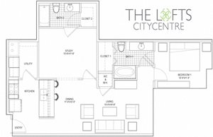Unit C1 Floor Plan at The Lofts at CityCentre Apartments in Houston, TX 77024