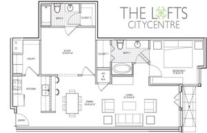 Unit C2 Floor Plan at The Lofts at CityCentre Apartments in Houston, TX 77024