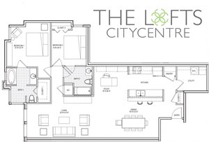 Unit C3a Floor Plan at The Lofts at CityCentre Apartments in Houston, TX 77024