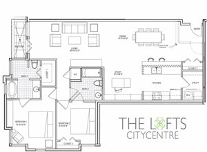 Unit C3b Floor Plan at The Lofts at CityCentre Apartments in Houston, TX 77024