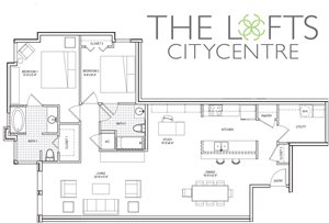 Unit C3c Floor Plan at The Lofts at CityCentre Apartments in Houston, TX 77024
