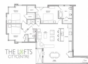 Unit D Floor Plan at The Lofts at CityCentre Apartments in Houston, TX 77024