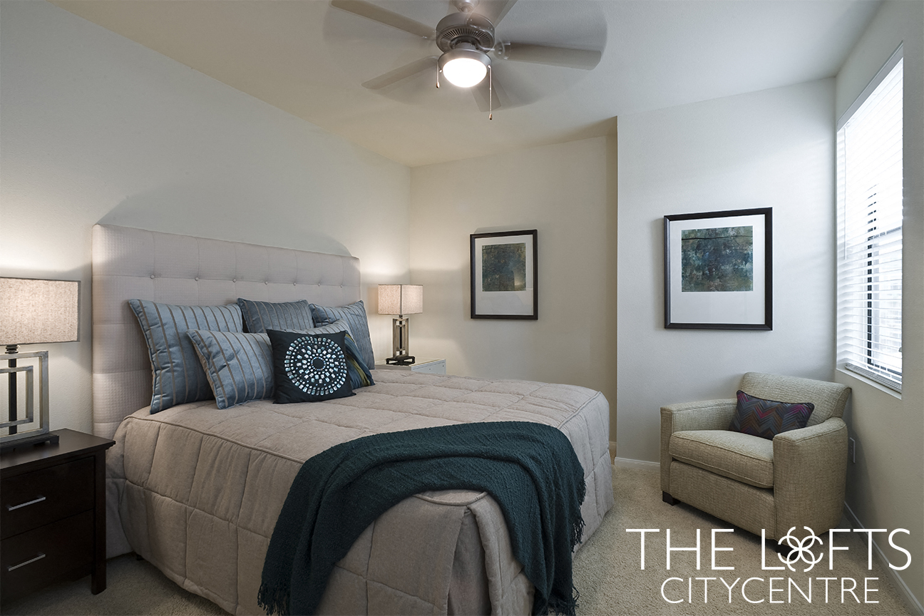 Master Bedroom Model at The Lofts CityCentre Apartments in Houston, Texas 77024