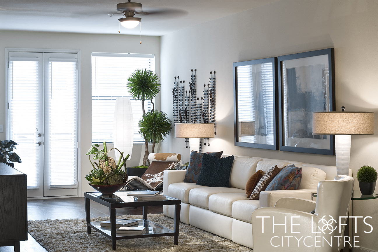 Living Room Model at The Lofts CityCentre Apartments in Houston, Texas 77024