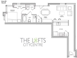 Unit A5 Floor Plan at The Lofts at CityCentre Apartments in Houston, TX 77024