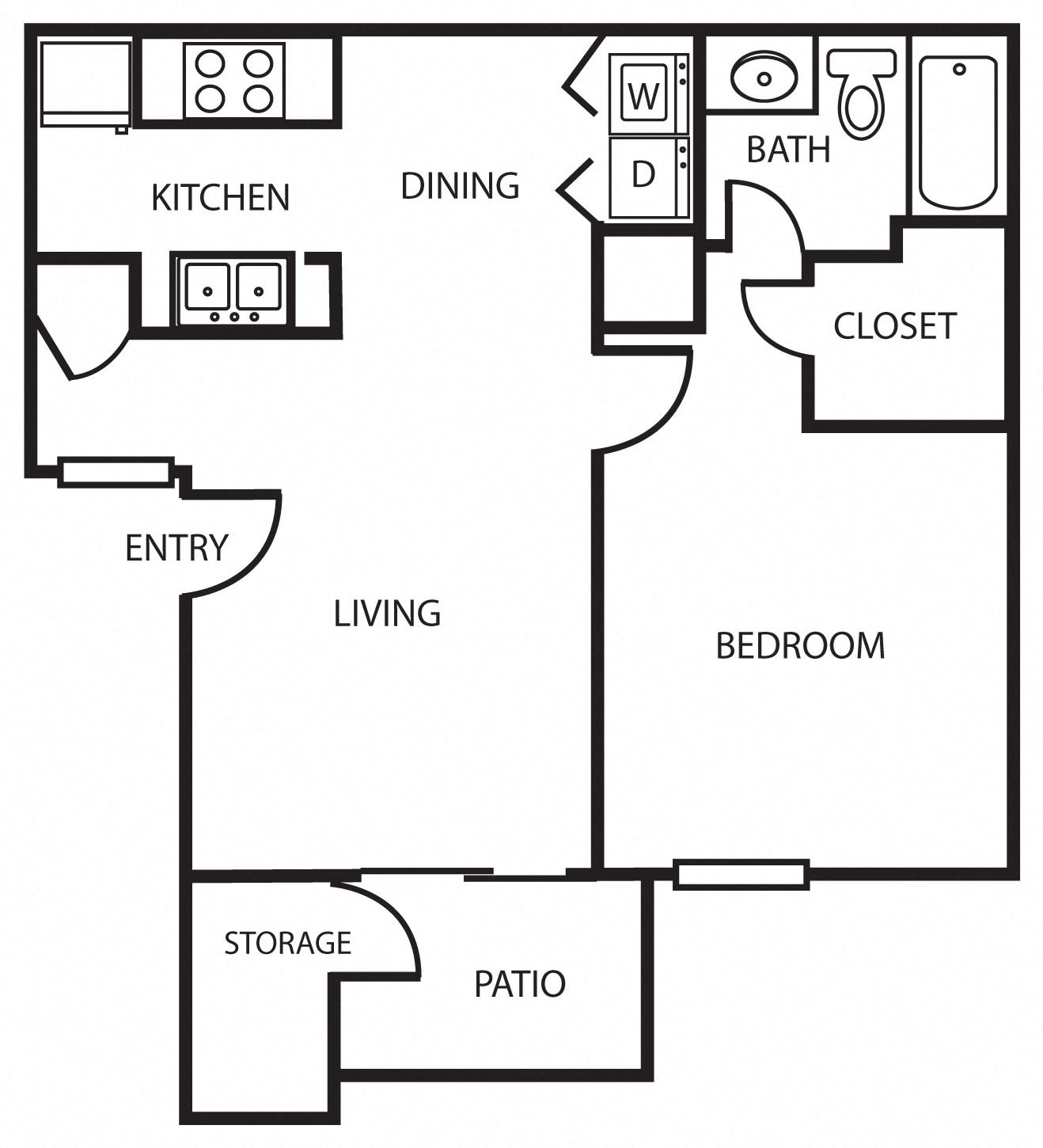 1A | One Bedroom Floor Plan 2