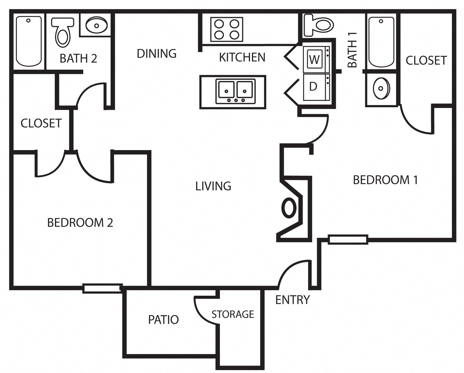 2B | Two Bedroom Floor Plan 4